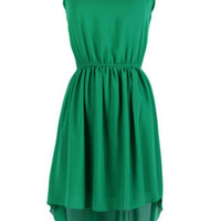 Green Sleeveless Sequined High Low Chiffon Dress - Sheinside.com