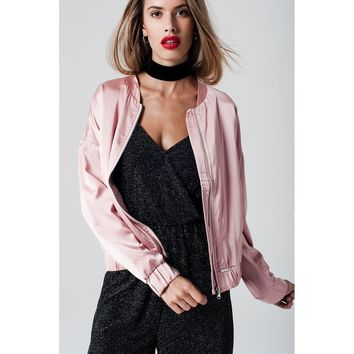 Satin Bomber Jacket in Pink
