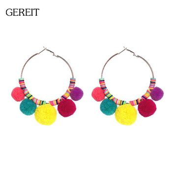 Statement Gold Big Round Circle Earrings Bohemian Colorful Pompom Drop Dangle Earrings For Women Fashion Indian Summer Jewelry