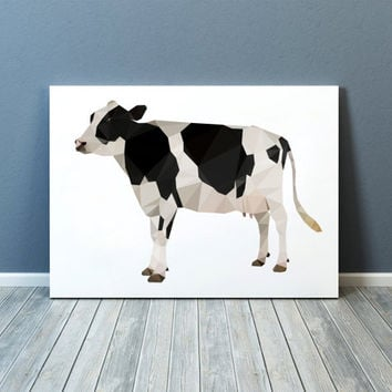 Colorful decor Cow poster Modern art Farm animal print TOA69