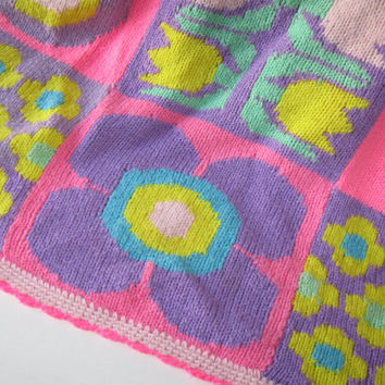 Vintage Hand Knitted Blanket, Knitted Bed Spread, Housewares, Mod, Urban Chic