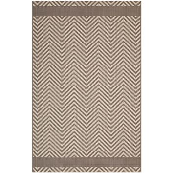 Optica Chevron With End Borders 5x8 Indoor and Outdoor Area Rug