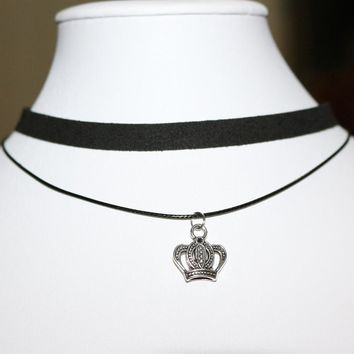 N898 Punk Chokers Necklaces For Women Crown Pendant Black Velvet Double Layer Chain Collares Fashion Jewelry Gothic 90's Bijoux