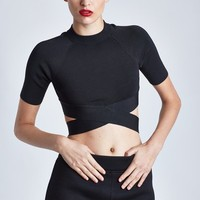 T BY ALEXANDER WANG CRISSCROSS SHORT-SLEEVE TOP - WOMEN - T BY ALEXANDER WANG - OPENING CEREMONY