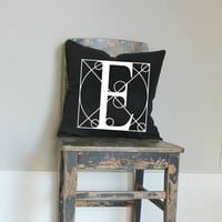 Black monogram pillow cover, initial cushion, letter pillow, Industrial decor, personalized cushion cover, colour options, metallic gold,