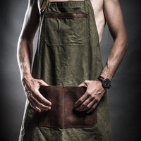 Canvas apron with leather pockets and soviet army belts by Kruk Garage