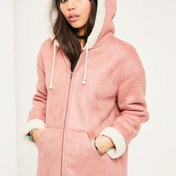 Missguided - Pink Zip Through Faux Shearling Jacket