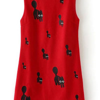Red Cat Embroidered Sleeveless Mini Dress