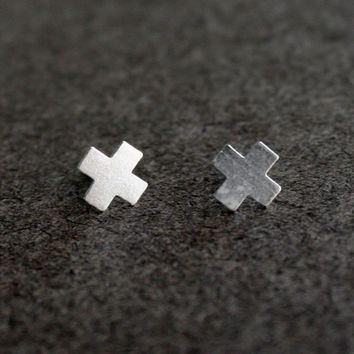 Tiny X Silver Stud Earrings // Plus Sign Studs // X Post Earrings // cross earrings // Small Stud Earrings // Minimalistic // Geometric