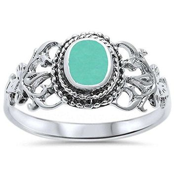 Oxford Diamond Co Sterling Silver Oval Simulated Turquoise Victorian Filigree Ring Sizes 510