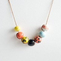 Ceramic Jewelry by RossLab- Pastel Necklace, Ceramic Beads
