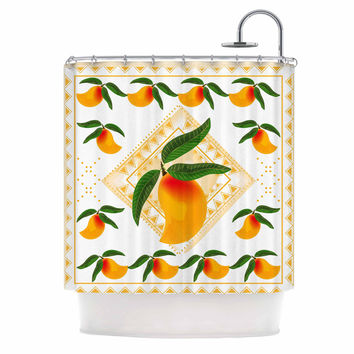 "Famenxt ""Fresh Farm Mangoes"" Orange Peach Shower Curtain"