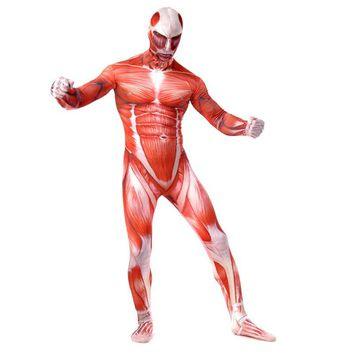 Cool Attack on Titan Bertolt Hoover  Muscle Muscular Suit Bodysuit   On Men Cosplay Costume For Adult Kids Zentai Halloween Birthday Gift AT_90_11