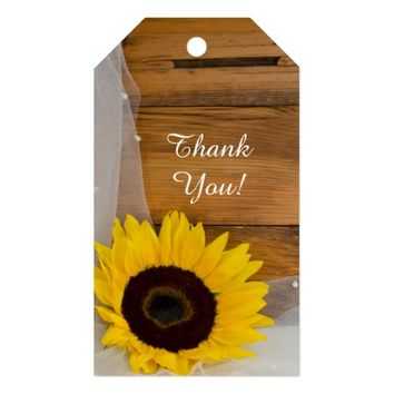 Sunflower and Veil Country Wedding Favor Tags