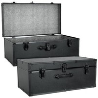 Seward Trunk Barracks Footlocker Trunk, Black, One Size