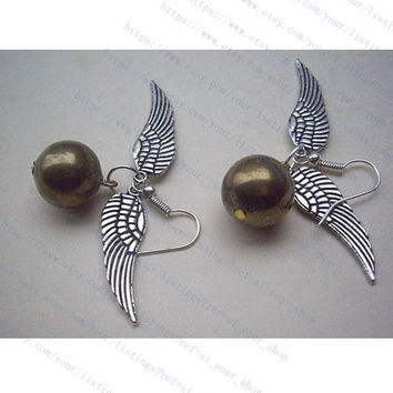 harry potter Enchanted Steampunk Golden snitch with Double Sided wings earrings-wings antique silver
