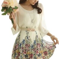 Women's Chiffon Floral 3/4 Sleeve Summer Beach Sundress Casual Dress - Small