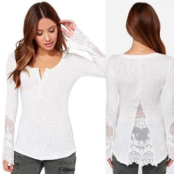Womens Lace Long Sleeve Shirts Cosy Blouse +Gift Necklace