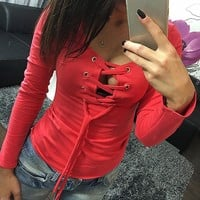 Fall Women Clothes Casual Bandage Lace Up Long-Sleeve T Shirt Women  T-shirts
