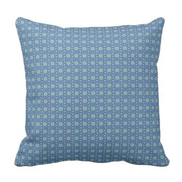 Blue geometric pattern throw pillow