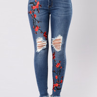 Cherry Blossom Jeans - Medium Wash