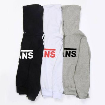 ONETOW VANS fleece sweater fashion casual men and women students sweater hoodie letter printing shirt