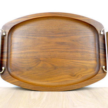 Large Walnut Wood Serving Tray with Handles // Gladmark Burbank, California