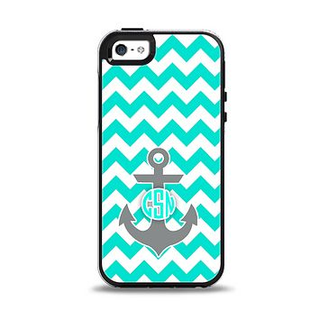 The Teal Green and Gray Monogram Anchor on Teal Chevron Apple iPhone 5-5s Otterbox Symmetry Case Skin Set