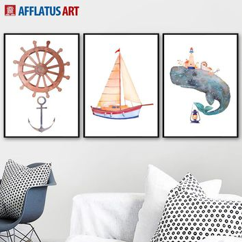 Watercolor Rudder Whale Sailing Wall Art Canvas Painting Posters And Prints Nordic Poster Abstract Wall Pictures Kids Room Decor