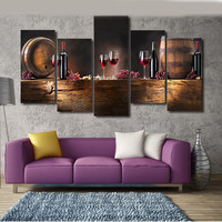 5 Panels canvas painting red wine wall pictures for living room print poster canvas art decorative picture unframed