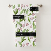 Pink Tulip Floral Patten Modern Chic Personalized Bath Towel Set