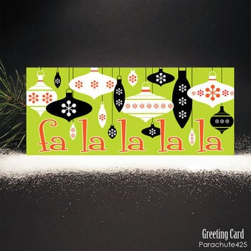 FA LA LA Greeting Card, mid century modern holiday card, retro Christmas card, red green black white