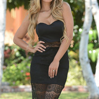 Black Strapless Floral Lace Overlay Bodycon Mini Dress