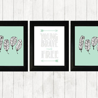 Baby Nursery Set of 3 8x10 Prints- Feathers- Tribal Nursery Decor- Young and Brave Prints- Mint and White- Indian Feel- Nursery Prints