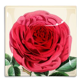 Rose Flower With Green Stem Decoupage Glass Tray