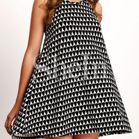 Black Halter Neck Geomectic Print Dress
