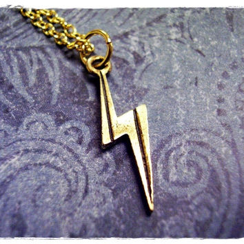 Tiny Gold Lightning Bolt Necklace - Antique Gold Pewter Lightning Bolt Charm on a Delicate 18 Inch Gold Plated Cable Chain