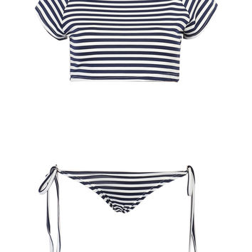 Blue Stripe Zip Up Cropped Bikini Top And Tie Side Bottom