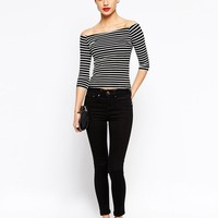 New Look Petite | New Look Petite 1/2 Sleeve Stripe Bardot Top at ASOS