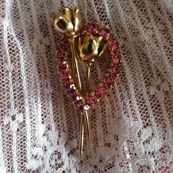 Rose Brooch Pink Rhinestone Flower Pin Vintage Pink and Gold Rose Brooch Flower Jewelry Fall Winter Christmas Gift Wedding Bridesmaid's Gift