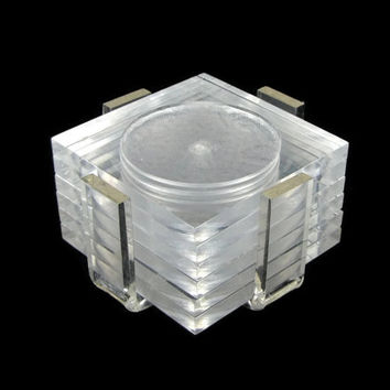 The Coast is Clear - Vintage 1970s Lucite Coasters with Holder, Set of 6 Square Coasters, Mid Century Modern Tableware