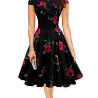 Black Rose Print Short Sleeve Sheath Midi Skater Dress