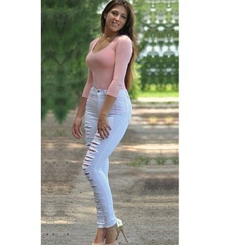 Rough Holes Cut Out High Waist Long Skinny Jeans