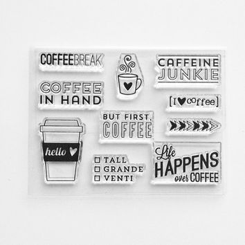 "Ms. Kimm Creates I Heart COFFEE 3""x4"" Photopolymer Clear Stamp Set - Limited Release"