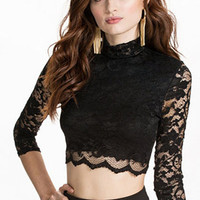 Black Sheer Sleeve and Turtleneck with Keyhole Back Floral Lace Cropped Top