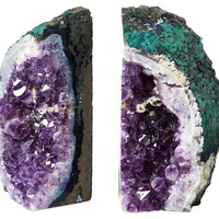 Large Amethyst Geode Bookends, Set of 2, Bookends