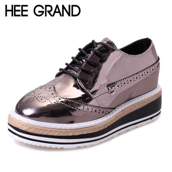 HEE GRAND Patent Leather Women Oxfords Platform Shoes Woman Creepers Autumn Flats Casual Lace-Up Women Brogue Shoes XWD3118