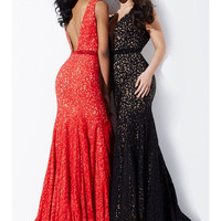 Jovani 29056 In Stock Red/Nude Size 4 Jeweled Lace Evening Gown Prom Dress