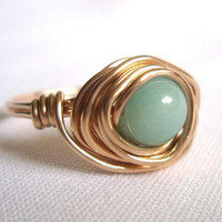 Amazonite Ring, Gold Filled Wire Wrapped Ring, Gold Wire Ring, Gift Idea for Her, Mint and Gold