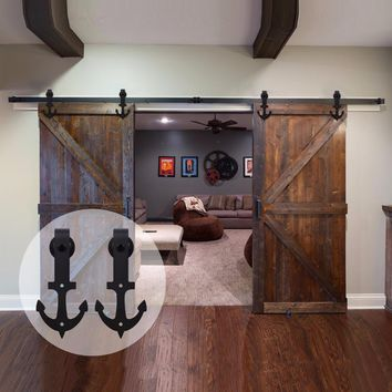 LWZH American Style 14FT/15FT Antique Sliding Doors Barns Anchor Shaped Black Sliding Closet Rail Track Kits for Double Door